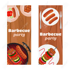 Barbecue Flyers Barbecue Party Flyers Invitation Banner Fried Meat Sausages