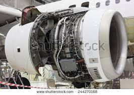 opened aircraft engine repair in the hangar turbine engine mechanic