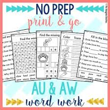 Words containing each of the 40+ phonemes already taught english y2: No Prep Au Aw Worksheets Diphthongs Word Work By The Designer Teacher