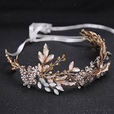 <b>KMVEXO Champagne Alloy Crystal</b> Bead Flower Bride Headbands ...