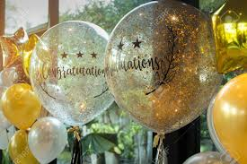 Congratulation Party Decorations Celebration Gold And White Balloons With Sparkles And Congratulation