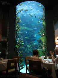 Tall aquarium next to dining tables.