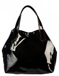 black patent leather large tote bag
