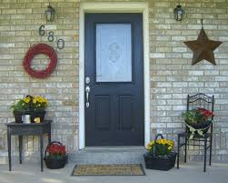 simple and neat black front door with glass for your house decoration design charming cream