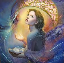 beautiful woman fine art painting portrait stained glass lightbulbs ideas long hair feminine