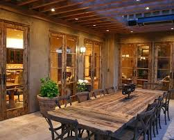 Mediterranean Classic Home Style That Attracts Your Attention Rustic Patio  With Reclaimed Wood Dining Table Pinterest