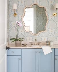Powder Room Wallpaper Bathroom Decorating Ideas Powder Room With Floating Vanity And
