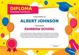 Certificate Template Kindergarten Kindergarten Diploma Certificate