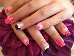 Acrylic nails with pocker dot as nail art and 3D bows on ring ...