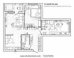 floor plan furniture vector. Floor Plan Furniture Top View Architectural Stock Vector 712570255 - Shutterstock