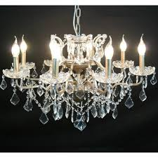 silver champagne 8 branch shallow cut glass chandelier
