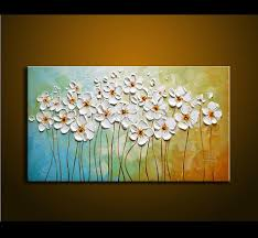hand painted textured palette knife white flowers oil painting abstract modern canvas wall art living room decor picture flower painting wall art canvas