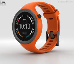 motorola 360 sport. motorola moto 360 sport flame orange 3d model c