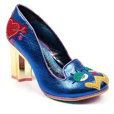 Blue Designer Heels Irregular Choice Tip Toe Star Heel Pump Blue