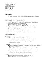 Agreeable Military Resume Objective Also Police Officer Resume