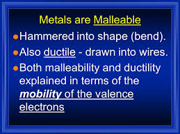 malleability chemistry. metals are malleable l hammered into shape (bend). malleability chemistry