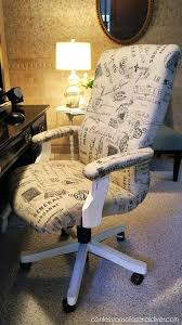 reupholstering an office chair. Reupholstered Office Chair How About Learning To Reupholster An From At Confessions Of A Serial This Pretty French Style Fabric Be Leather Diy Reupholstering