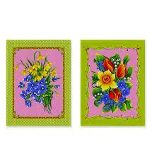<b>Набор полотенец 2</b> пр. на хангере Цветы купоны зелёный
