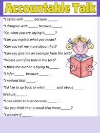 Accountable Talk Anchor Chart Worksheets Teaching