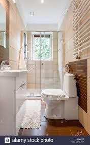Kleines Badezimmer Einrichtung In Braun Mit Fenster Wc Dusche Und