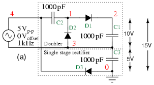 voltage multipliers diodes and rectifiers electronics textbook voltage tripler composed of doubler stacked atop a single stage rectifier