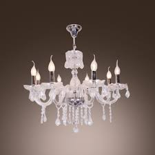 chrome finished 8 light shinning clear crystal bobeches and drops chandelier