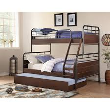 Woodcrest Pine Ridge Twin over Full Metal and Wood Bunk Bed with Trundle   Hayneedle