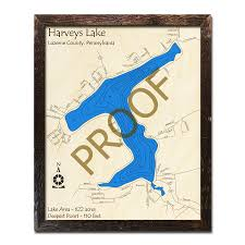 Harveys Lake Pa 3d Nautical Wood Maps