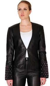 ndk new york womens trendy lambskin fitted studded blazer colors black sizes s