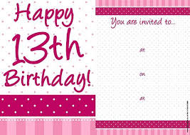 Free 13th Birthday Invitations 13th Birthday Card Template Interestor Co