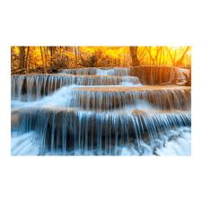 autumn waterfall tempered glass wall art