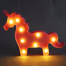 3d Eenhoorn Nachtlampje Baby Plastic Led Lamp Kinderkamer Slaapkamer Bedlampje Party Bruiloft Woondecoratie