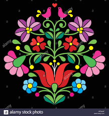Hungarian Folk Embroidery Designs Kalocsai Embroidery Hungarian Floral Folk Pattern On Black