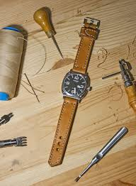 full grain leather handmade watch strap for seams we used lighter coloured thread and this