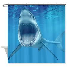 a scary shark shower curtain