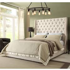 Diamond Sofa PARKAVESDQUBED Park Avenue Queen Bed Tall Diamond Tufted  Headboard in Desert Sand Linen