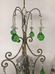 vintage italian crystal chandelier with green murano glass drops 11