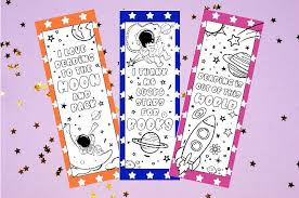 I'm so excited to share these printable coloring bookmarks with you! Printable Bookmarks To Color Space Bookmarks Made With Happy