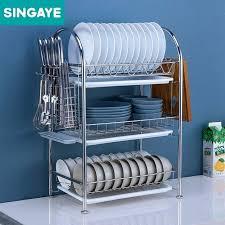 dish rack stainless steel three layers kitchen shelf dish rack set stainless steel plate dish cutlery
