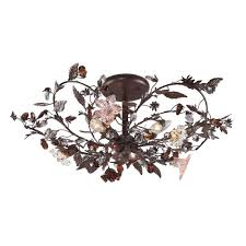 titan lighting cristallo fiore 3 light deep rust ceiling semi flush mount light