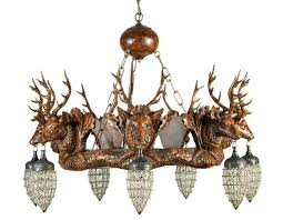 stag head chandelier with seven glass and wire globes view full size