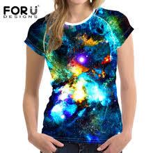 <b>FORUDESIGNS Women T</b>-<b>Shirt</b> Crop Tops Galaxy Space Tumblr T ...