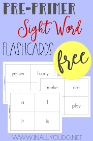 Free Pre Primer Sight Word Flashcards Thrifty Homeschoolers