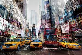 tempered glass wall art creative furniture a 1100 s 005 yellow cabs in manhattan