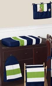 navy blue and lime green stripe baby bedding 9pc crib set by sweet jojo designs only 189 99