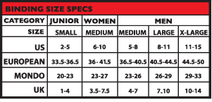 Burton Binding Size Chart Uk 23 Experienced Burton Womens Bindings Size Chart