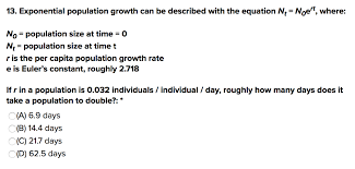 exponential population growth can be described with the equation n noet where