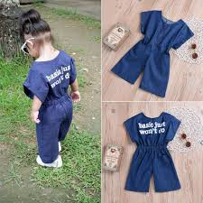 Details About Us Fashion Infant Toddler Girls Letter Denim Jumpsuit Casual Rompers Outfits Set