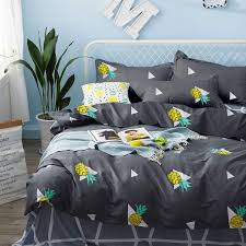 teen queen bed sets pineapple duvet cover set soft cotton bedding yellow