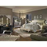 hollywood swank bedroom set. Wonderful Hollywood Aico Amini Hollywood Swank Queen Pearl Leather Bedroom Set By For S